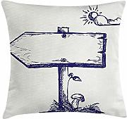 ERCGY Doodle Throw Pillow Cushion Cover, Wooden
