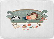 ERCGY Kitten Bath Mat, Sleeping Young Girl with