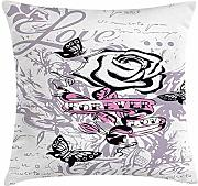 ERCGY Rose Throw Pillow Cushion Cover, Abstract