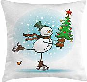 ERCGY Snowman Throw Pillow Cushion Cover, Hand