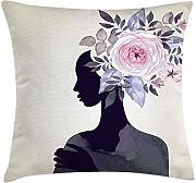 ERCGY Watercolor Throw Pillow Cushion Cover, Lady