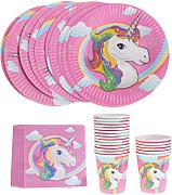 FLAMEER 40pcs Cartoon Pink Unicorn Paper