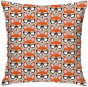 Fox with Glasses Throw Pillow Covers Decorative