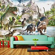Guyuell Custom 3D Mural Wallpaper Cartoon Dinosaur