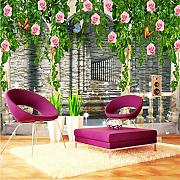 Guyuell Custom Wallpaper 3D Popular Rose Flower