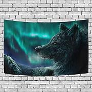 henghuidashi Bling Green Light Wolf Tapestries 60