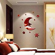 Hjyi Pegatinas de Pared Moon Mirror Wall Sticker