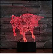 hysxm Animal Bull Ox 3d luz nocturna 7 colores