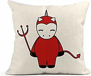 Kinhevao Cojín Rojo Adorable Cute Cartoon Devil
