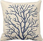 Kinhevao Throw Pillow Branch Coral Tree in Cream