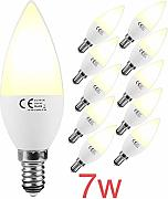 (LA) 10x LED VELA C37, 7W, blanco Calido (3000K),