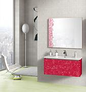 Lebanatau - Mueble de baño three animalario, medidas 90x35x45 cm, color rojo