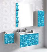 Lebanatau - Mueble de baño two lilly, medidas 80x70x45 cm, color azul