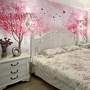 LHDLily 3D Estéreo Cherry Blossom Tapiz Mural