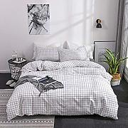 Lili White Plaid Duvet Cover Set Queen King Size