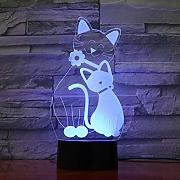 Lindo Gato 3D LED Lámpara 7 Cambio de Color 3d