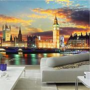 London Night City Mural Landscape Big Ben 3D Mural