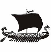 Lshfb Long Dragon Viking Ship Etiqueta De La Pared