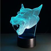 Luz Nocturna Infantil Wolf Head Cool 3D 7 Colors