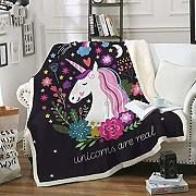 MegOK BeddingOutlet Cartoon Unicorn elvet Manta de