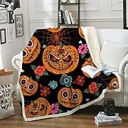 MegOK Cartoon Pumpkin Kids Sherpa Throw Manta