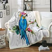 MegOK Macaw Art Throw Manta Bird Morning Glories