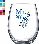 Mr & Mrs - Copa de vino personalizada, color