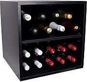 Mueble Botellero para20 botellas de vino ó cava, fabricado con tablero de melamina tipo soft  color negro