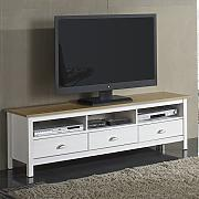 Mueble TV Bora Bora 3 Cajones, madera maciza, color Blanco capado
