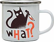Murder cat funny Enamel camping mug outdoor cup