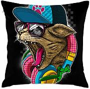 Music Cat with Glasses Throw Pillow Covers