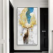 N / A Cartel Golden Deer Animal Canvas Painting