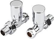 New Modern Chrome Central Heating Towel Rail Radiator Valves Taps 15mm Straight Pair NEW by Trueshopping