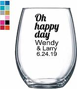 Oh Happy Day - Copa de vino personalizada, color
