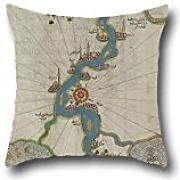 Oil Painting Piri Reis - Map Of The River Nile From Its Estuary South Pillow Covers 20 X 20 Inches / 50 By 50 Cm For Sofa,husband,kitchen,kids Boys,relatives,divan With Double Sides