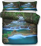 Paisaje Water Flow Green Bedding, 3 piezas Green