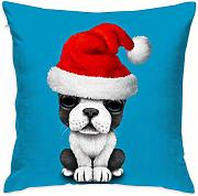 Puppy Dog with Christmas Hats Throw Pillow Covers