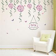 Qbbes Flying Flower Butterfly Floral Vine Wall