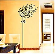 Qjhdg Simple Árbol Negro 3d Etiqueta pared vista