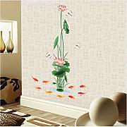 Qwerlp Large Green Lotus Leaf Pond 3D Wall