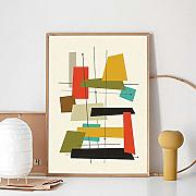QZROOM Mid Century Modern Abstract Multicolor