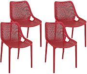 Resol Silla Grid - Color Rojo, Set de 4 Unidades
