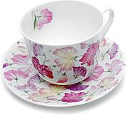 Roy Kirkham Sweet Pea - Taza y platillo, color rosa