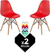 SILLA EAMES DSW (Pack 2) - SILLA TOWER WOOD Rojo Amapola Madera Natural- (Elige Color) SKLUM