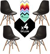 SILLA EAMES DSW (Pack 4) - SILLA TOWER WOOD Negro Madera Natural- (Elige Color) SKLUM