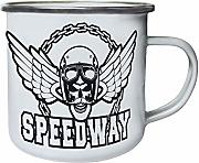 Speedway Skull With Wings Retro, lata, taza del