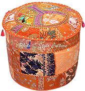 Stylo Culture Pouffe Seat Vintage Cover Naranja