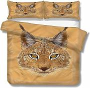 SUPERQIAO Animal Extra Large Quilt Cover Lynx Cat