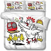 SUPERQIAO Chicken Extra Large Quilt Cover Happy