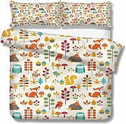 SUPERQIAO Niños Extra Large Quilt Cover Owl Fox